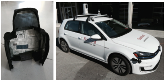 "on right: car seat costume, used in Wendy Ju's ghost-driver experiments. on left: the ""autonomous"" car used for the experiments."