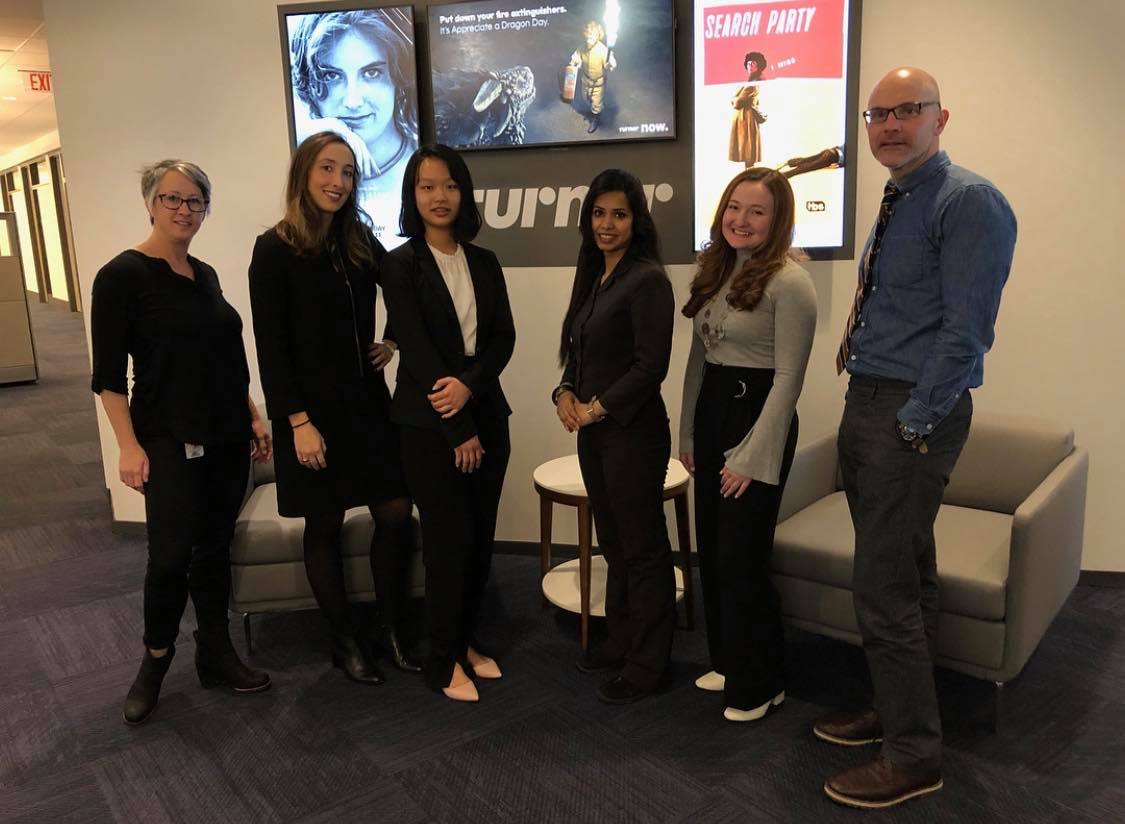 Meeting with top leadership at Turner Broadcasting. From left to right: Maigh Houlihan, Cristina Coleman, Jenny Chen, Sabina Akter, Annmarie Gajdos, Michael Marinello