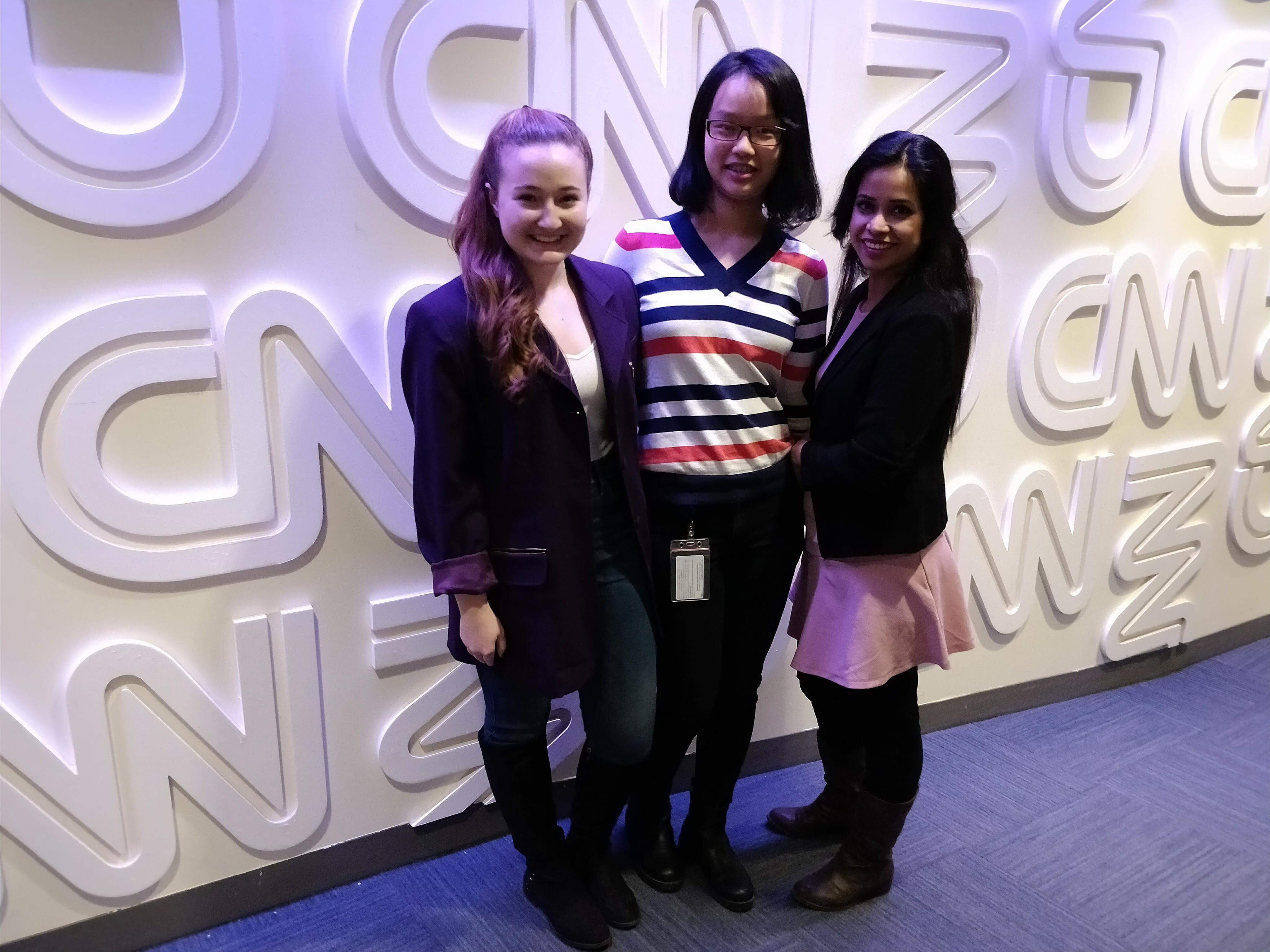 left to right: Annmarie Gajdos, Jenny Chen, Sabina Akter.