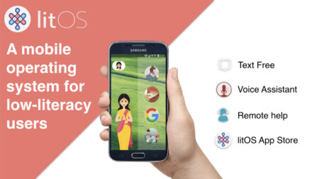 Screenshot of litos app featuring text free, voice assistant, remote help and a litos app store