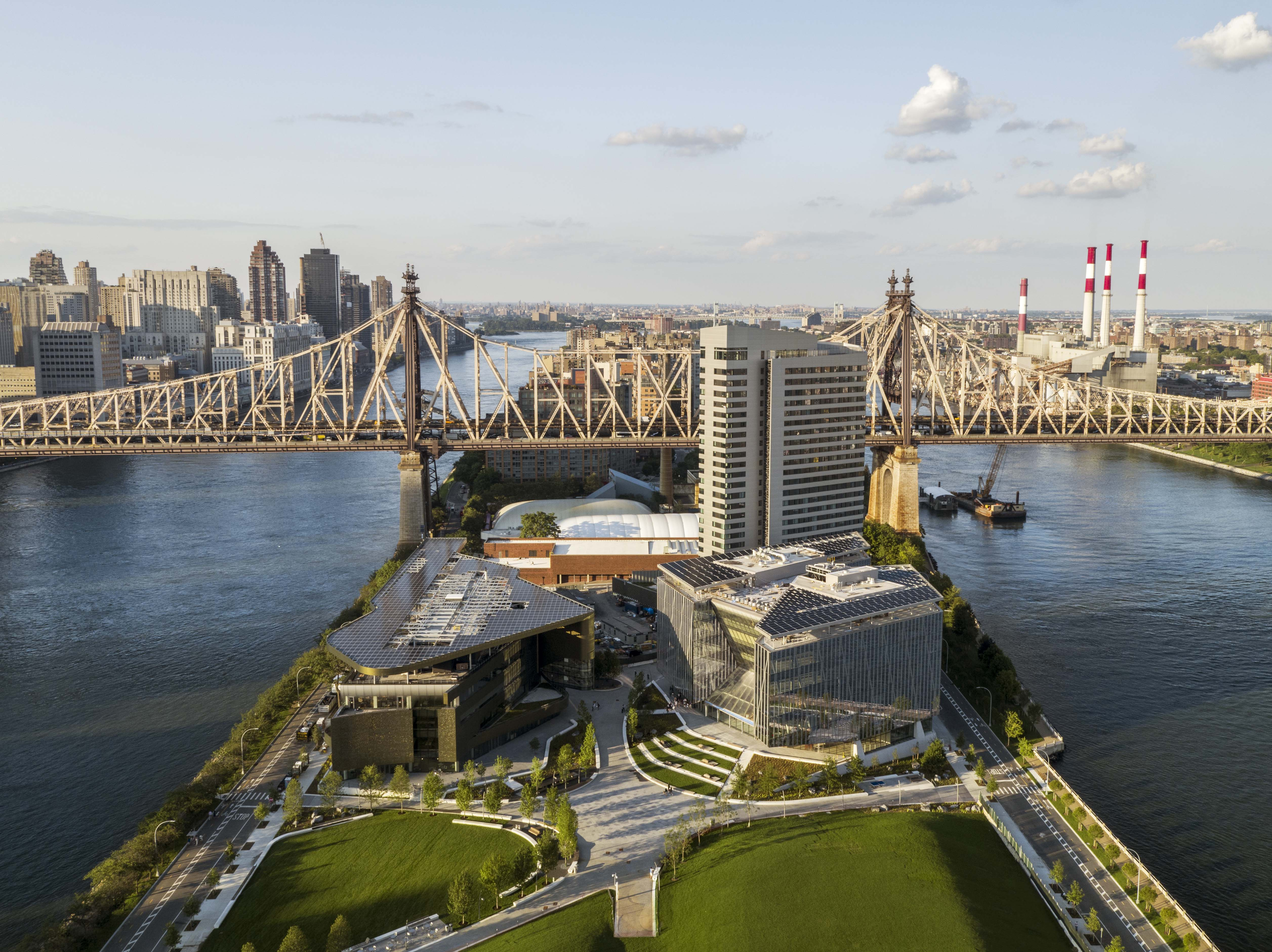 Arial shot of the Cornell Tech campus
