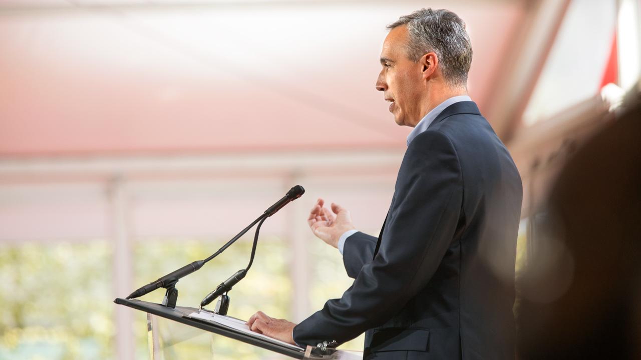 Daniel Huttenlocher speaking at a podium