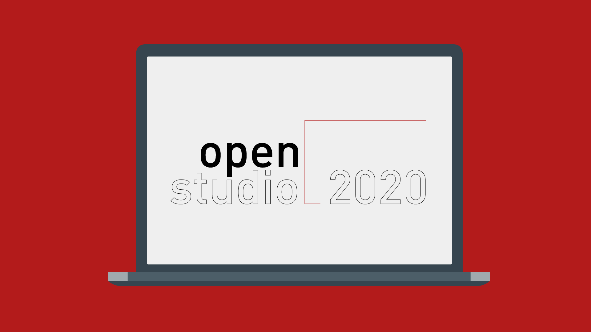 Open Studio 2020 logo within a graphic of a laptop screen