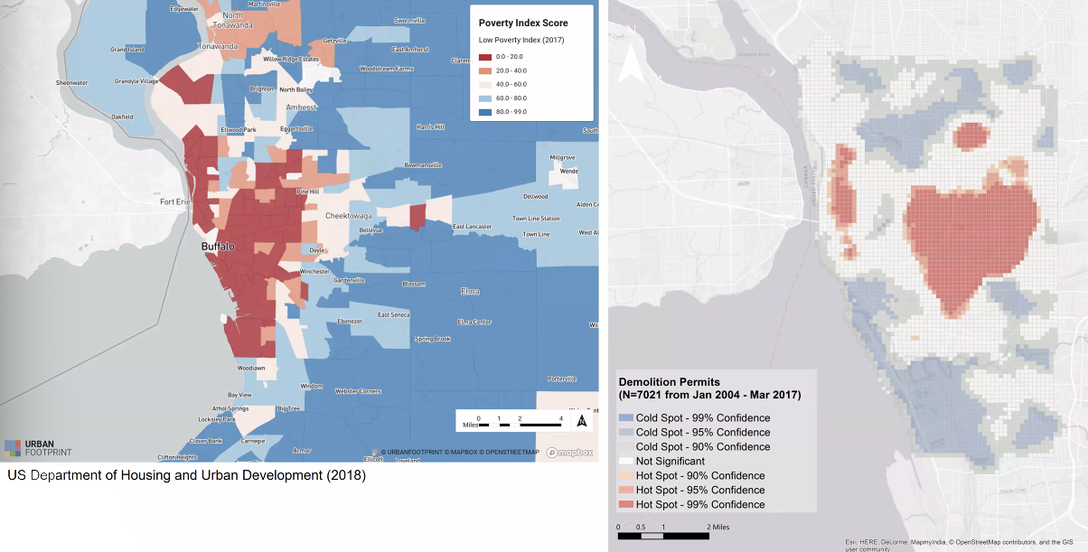 Two maps side-by-side: poverty index scores vs. demolition permits