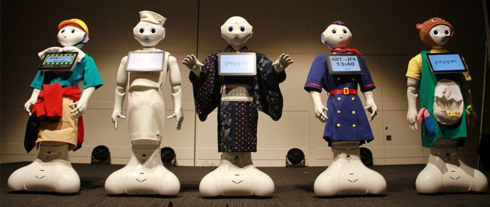 Pepper robot in different outfits