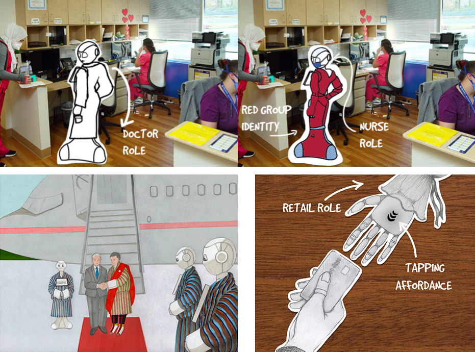 3 images: A doctor robot vs a nurse robot, robots in ceremonial robes, and a retail robot